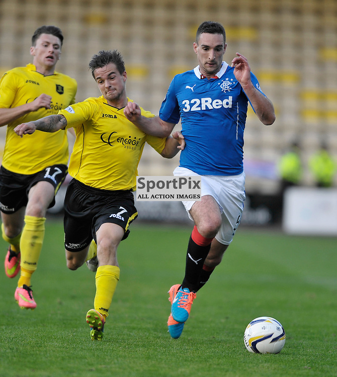 Keaghan Jacobs (Livingston, yellow) and Lee Wallace (Rangers, blue)<br /> <br /> Livingston v Rangers, SPFL Championship, 4th October 2014<br /> <br /> (c) Alex Todd | SportPix.org.uk