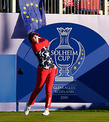 Solheim Cup 2019 at Centenary Course at Gleneagles in Scotland, UK. Brittany Altomare of USA tees off on 1st hole on final day
