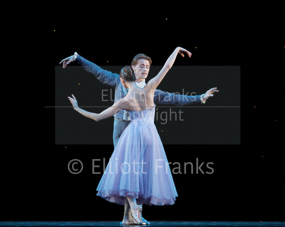 In The Night <br /> The Mariinsky Ballet <br /> a Ballet in one act <br /> Choreography by Jerome Robbins<br /> staged by Ben Huys<br /> Costumes by Anthony Dowell<br /> at The Royal Opera House, London, Great Britain <br /> 4th August 2011<br /> Rehearsal <br /> <br /> Anastasia Matvienko <br /> Denis Matvienko<br /> <br /> Photograph by Elliott Franks