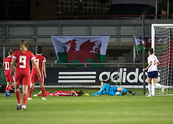 NEWPORT, WALES - Thursday, August 30, 2018: Wales' Laura O'Sullivan makes dives to save a shot during the FIFA Women's World Cup 2019 Qualifying Round Group 1 match between Wales and England at Rodney Parade. (Pic by Laura Malkin/Propaganda)