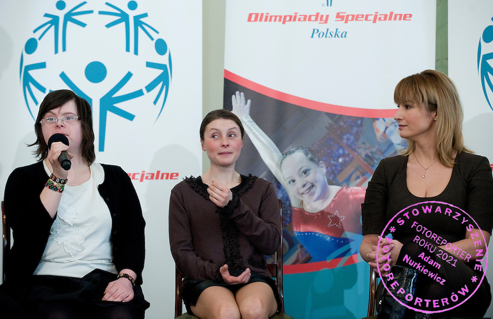 (L) Sabina Czernic & (R) famous actress Joanna Brodzik with athletes of Special Olympics attend a meeting with First Lady Anna Komorowska in Presidential Palace in Warsaw on February 26, 2013..The mission of Special Olympics is to provide sports training and athletic competition for children and adults with intellectual disabilities...Poland, Warsaw, February 26, 2013..Picture also available in RAW (NEF) or TIFF format on special request...For editorial use only. Any commercial or promotional use requires permission...Photo by © Adam Nurkiewicz / Mediasport