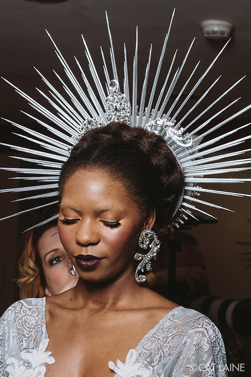 PROVIDENCE, RI - FEB 20: Muhsinah Muhammad backstage prior to the Jonathan Joseph Peters show during StyleWeek NorthEast on February 20, 2015 in Providence, Rhode Island. (Photo by Cat Laine)