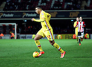 Milton Keynes Dons midfielder Daniel Powell driving into the box trying to rescue something for Milton Keynes Dons during the Sky Bet Championship match between Brentford and Milton Keynes Dons at Griffin Park, London, England on 5 December 2015. Photo by Matthew Redman.