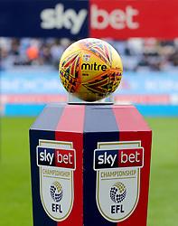 A detail view of a mitre match football