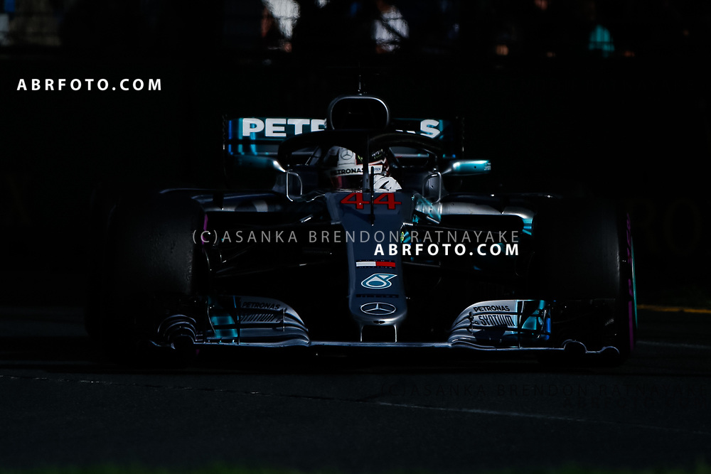 Mercedes driver Lewis Hamilton of Britain during the 2018 Rolex Formula 1 Australian Grand Prix at Albert Park, Melbourne, Australia, March 24, 2018.  Asanka Brendon Ratnayake
