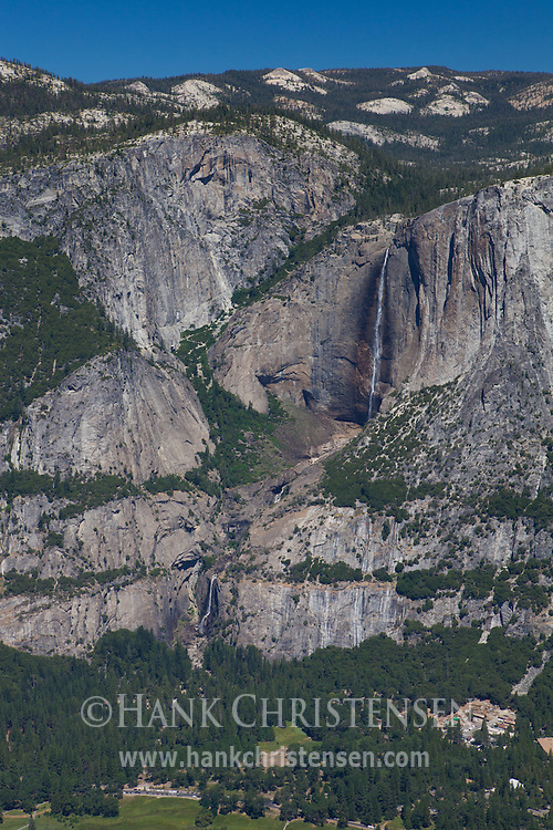 In the summer, Yosemite Falls shrinks to a trickle, as Yosemite Creek starts to dry up.