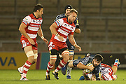 R Hibbard stops Sale during the Aviva Premiership match between Sale Sharks and Gloucester Rugby at the AJ Bell Stadium, Eccles, United Kingdom on 29 September 2017. Photo by George Franks.