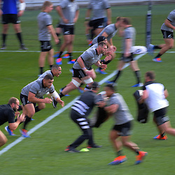 The All Blacks run drills during the 2019 Investec Rugby Championship Series New Zealand All Blacks training session at Westpac Stadium in Wellington, New Zealand on Thursday, 25 July 2019. Photo: Dave Lintott / lintottphoto.co.nz