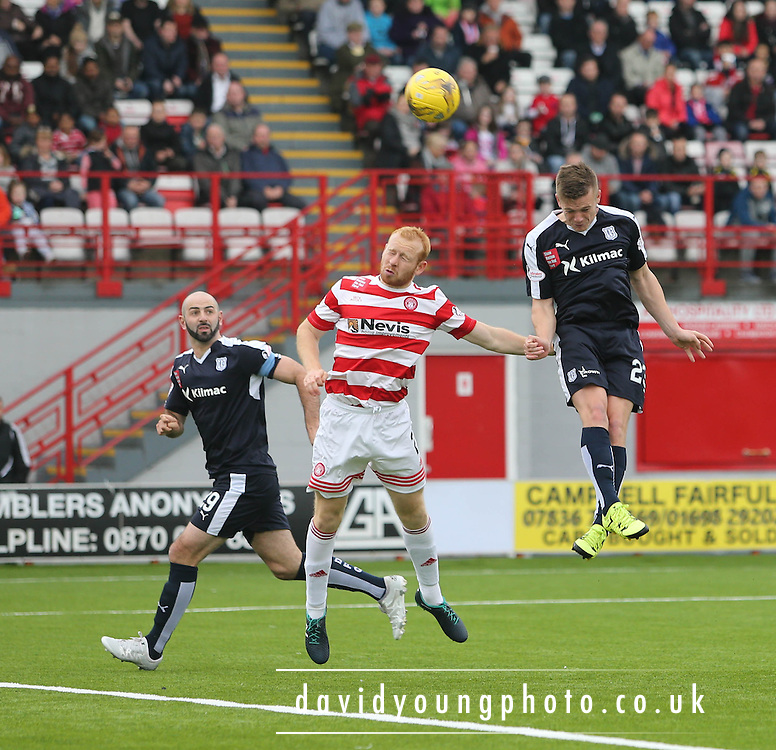 Dundee's Rhys Healey beats Hamilton Academical's Ziggy Gordon to head towards goal - Hamilton Academical v Dundee, Ladbrokes Premiership at New Douglas Park<br /> <br /> <br />  - &copy; David Young - www.davidyoungphoto.co.uk - email: davidyoungphoto@gmail.com