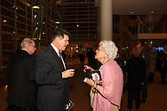 Alan Stryker and Miriam Shapiro of Centerville chat before the 10th Anniversary Concert at the Schuster Center in downtown Dayton, Friday, March 1, 2013.