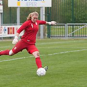 21120413 - IEPER, BELGIUM : England's  Jessica Myers (1)  kicks the ball during the Second qualifying round of U17 Women Championship between England and Iceland on Friday April 13th, 2012 in Ieper, Belgium.
