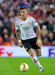 LIVERPOOL, ENGLAND - Thursday, March 10, 2016: Manchester United's Marcos Rojo in action against Liverpool during the UEFA Europa League Round of 16 1st Leg match at Anfield. (Pic by David Rawcliffe/Propaganda)