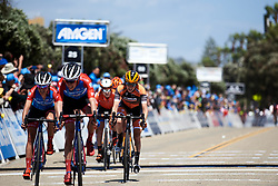 Katie Hall (USA) crosses the line at Amgen Tour of California Women's Race empowered with SRAM 2019 - Stage 1, a 96.5 km road race in Ventura, United States on May 16, 2019. Photo by Sean Robinson/velofocus.com