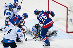 Petri Vehanen of Finland tries to cover a puck during ice-hockey match between Finland and Slovakia of Group E in Qualifying Round of IIHF 2011 World Championship Slovakia, on May 7, 2011 in Orange Arena, Bratislava, Slovakia. (Photo by Matic Klansek Velej / Sportida)