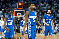 Kentucky guard Malik Monk leaves the floor with teammates down in the first half. <br /> <br /> The University of Kentucky hosted the University of North Carolina in a 2017 NCAA D1 Men's South Regional Championship, Sunday, March 26, 2017 at FedExForum in Memphis.