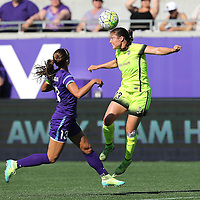 Seattle Reign FC defender Kendall Fletcher (13) heads the ball in front of Orlando Pride forward Alex Morgan (13) during a NWSL soccer match at Camping World Stadium on May 8, 2016 in Orlando, Florida. (Alex Menendez via AP)
