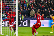 Liverpool midfielder Naby Keïta (8) misses an open goal in the first half during the Champions League match between FC Red Bull Salzburg and Liverpool at the Red Bull Arena, Salzburg, Austria on 10 December 2019.