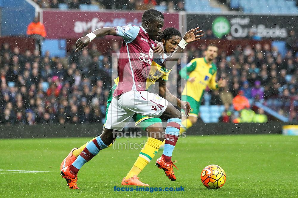 Dieumerci Mbokani of Norwich in action during the Barclays Premier League match at Villa Park, Birmingham<br /> Picture by Paul Chesterton/Focus Images Ltd +44 7904 640267<br /> 06/02/2016