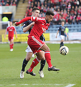 Aberdeen&rsquo;s Shaleum Logan and Dundee's Alex Harris  - Dundee v Aberdeen, SPFL Premiership at Dens Park<br /> <br />  - &copy; David Young - www.davidyoungphoto.co.uk - email: davidyoungphoto@gmail.com