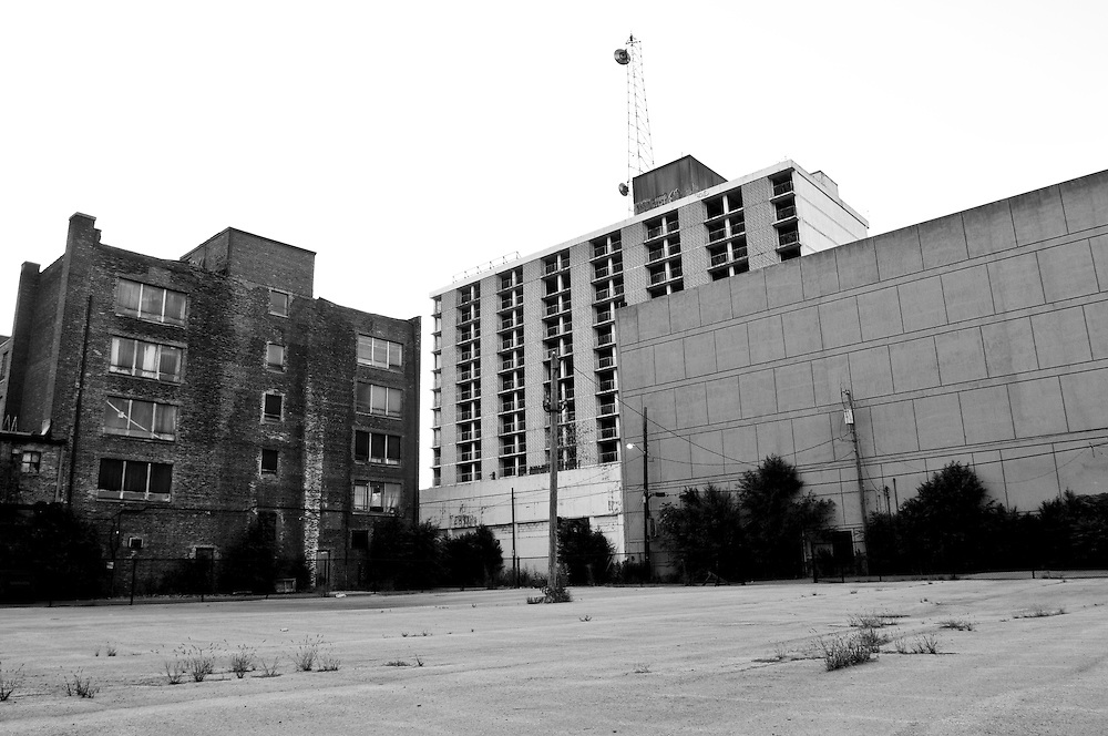 Pictured is the abandoned Sheraton Hotel, center, in downtown Gary, Indiana. Gary's population peaked in the early 1960s at roughly 174,000 residents but has fallen to around 80,000 according to the latest U.S. Census in 2010. In addition to the collapsing infrastructure and deteriorating buildings, the number of abandoned houses is sharply increasing as people leave the city. (© William B. Plowman/Redux)