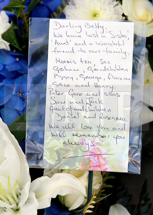 © Licensed to London News Pictures. 22/10/2011. Manchester, UK. Flowers left at the funeral of former Coronation Street actress Betty Driver at St Ann's Church in Manchester. The actress lived to the age of 91. Photo credit : Joel Goodman/LNP