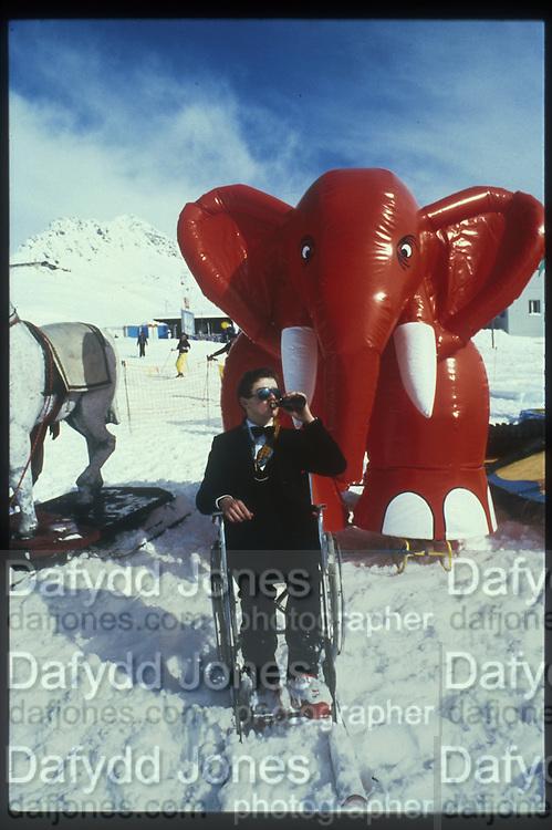 Martin Lyster, Dangerous Sports Club Ski race. St. Moritz. 1983 approx. © Copyright Photograph by Dafydd Jones 66 Stockwell Park Rd. London SW9 0DA Tel 020 7733 0108 www.dafjones.com