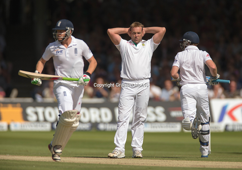 Jacques Kallis as Jonny Bairstow (left) and Ian Bell run off his bowling during the third and final Investec Test Match between England and South Africa at Lord's Cricket Ground, London. Photo: Graham Morris (Tel: +44(0)20 8969 4192 Email: sales@cricketpix.com) 17/08/12