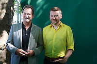 Edinburgh. UK. 17th August. Edinburgh International Book Festival. Julian Clary and David Roberts pictured during Edinburgh International Book Festival. Pako Mera