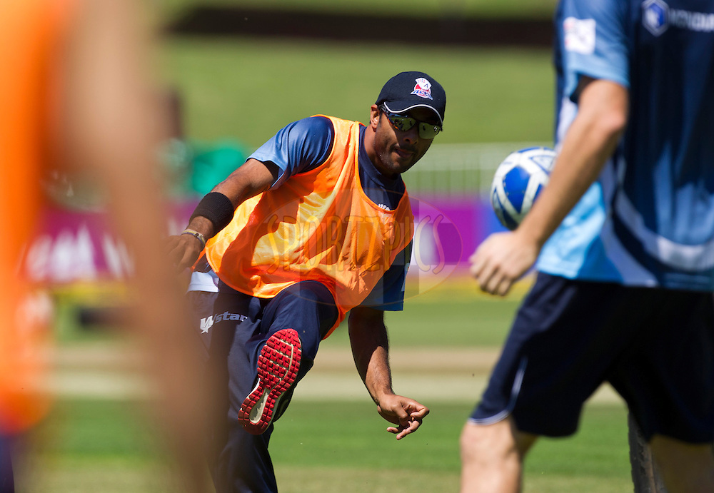 Ronnie Hira plays soccer during the Auckland Aces practice session held a Kingsmead Stadium in Durban on the 18th October 2012..Photo by Rogan Ward/SPORTZPICS/CLT20