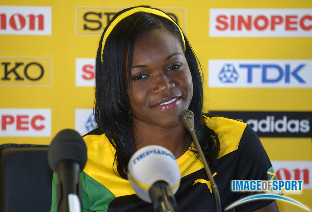 Jul 12, 2013; Donetsk, UKRAINE; Yanique Thompson (JAM) at press conference after winning the womens 100m hurdles in the 2013 IAAF World Youth Championships at Olimpiyskiy Stadium.