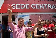 Hugo Martinez actual canciller de la republica participa en un mitin en las instalaciones del partido político fmln San Salvador, El Salvador April 23, 2018 durante su inscripción como candidato presidencial en las primarias del partido izquierda. Hugo Martinez fue secretario general de la Asociación de Estudiantes de Periodismo Ageus, miembro del a juventud del partido, diputado y actualmente canciller. Photo: Edgar ROMERO/Imagenes Libres.