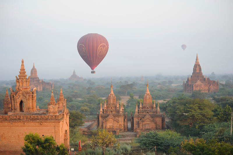 Hot air balloons Bagan Temples Burma