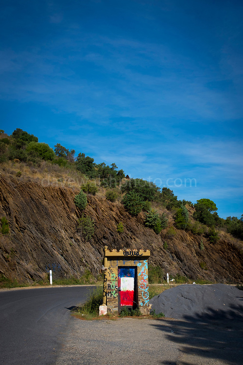France-Spain border on the D914 road, on the Mediterranean coast, Pyrenees Orientale, France