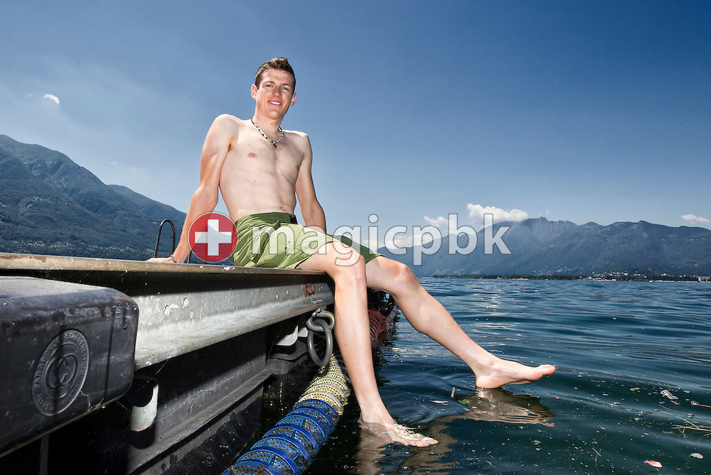 Cyclist Mathias FRANK of Switzerland is pictured during a photo session on a raft in the lake Maggiore (Italian: Lago Maggiore) in Tenero, Switzerland, Sunday, July 3, 2011. (Photo by Patrick B. Kraemer / MAGICPBK)