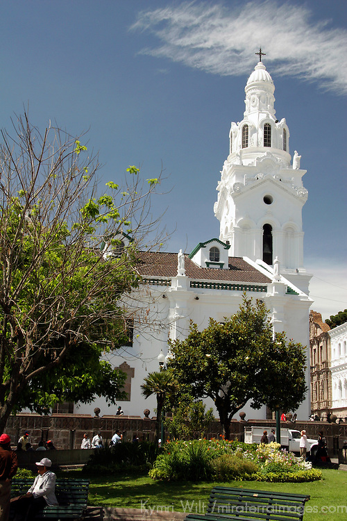 South America, Ecuador, Quito. One of the many historical churches concentrated in Quito's old town, a UNESCO World Heritage site.