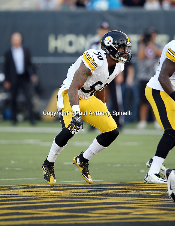 Pittsburgh Steelers inside linebacker Ryan Shazier (50) chases the action during the 2015 NFL Pro Football Hall of Fame preseason football game against the Minnesota Vikings on Sunday, Aug. 9, 2015 in Canton, Ohio. The Vikings won the game 14-3. (©Paul Anthony Spinelli)