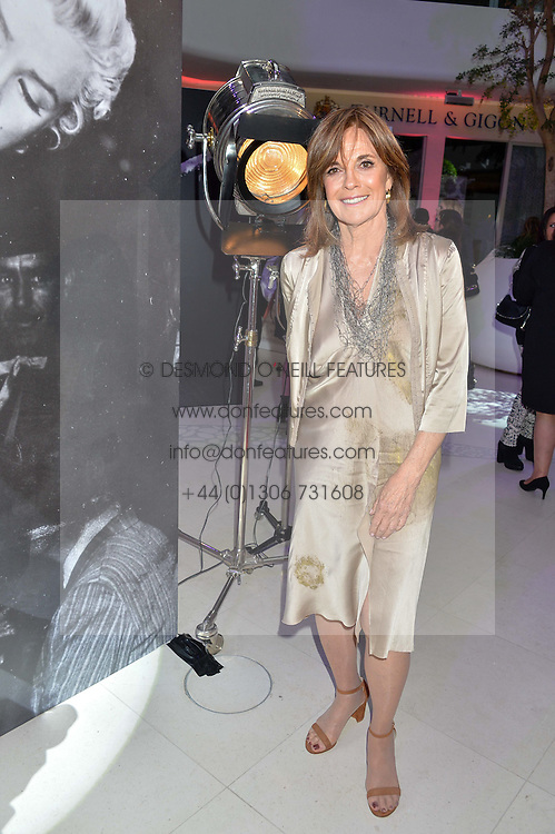 Actress LINDA GRAY at a private view of Marilyn - The Legacy of a Legend held at the Design Centre, Chelsea Harbour, London on 25th May 2016.