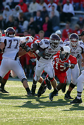 18 October 2008: Paul Wright leaps for Kingjack Washington in a game which the Missouri State Bears came from behind to beat the Illinois State Redbirds 34-28 in front of 13,292 fans at Hancock Stadium on Illinois State Universities campus in Normal Illinois