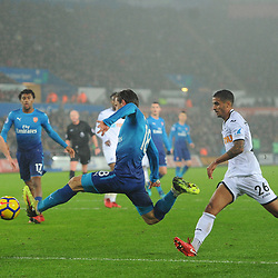 Nacho Monreal of Arsenal scores his sides first goal during Swansea City vs Arsenal, Premier League, 30.01.18 (c) Harriet Lander | SportPix.org.uk