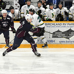 DRYDEN, ON - MAY 3: Ted Davis #17 of the Dryden GM Ice Dogs shoots the puck in the first period during Game Six of the Central Canadian Junior Championship during the 2018 Dudley Hewitt Cup on May 3, 2018 at the Dryden Memorial Arena in Dryden, Ontario, Canada. (Photo by Andy Corneau/DHC via OJHL Images)