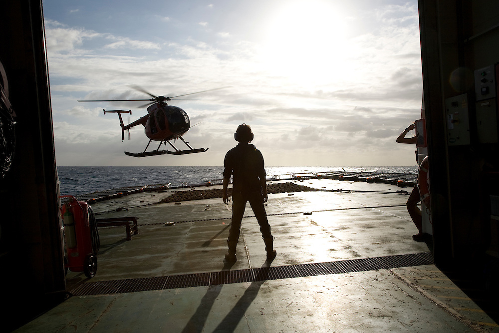 March 9th 2007. A helicopter departs from the MY Esperanza before it arrives in Sydney after the whaling campaign in the Southern Ocean.