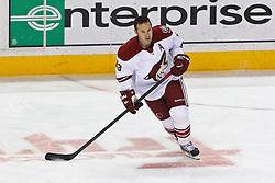 Mar 24, 2012; San Jose, CA, USA; Phoenix Coyotes left wing Ray Whitney (13) warms up before the game against the San Jose Sharks at HP Pavilion.  San Jose defeated Phoenix 4-3 in shootouts. Mandatory Credit: Jason O. Watson-US PRESSWIRE