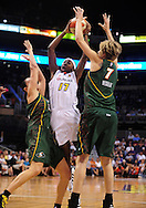 Aug 20, 2010; Phoenix, AZ, USA; Phoenix Mercury guard Sequoia Holmes drives the ball against Seattle Storm forward Jana Vesela and teammate  forward Svetlana Abrosimova during the first half in at US Airways Center.  Mandatory Credit: Jennifer Stewart-US PRESSWIRE