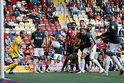 Players watch as a header from Bradford City's Paudie O'Connor(4) goes wide during the EFL Sky Bet League 2 match between Bradford City and Northampton Town at the Utilita Energy Stadium, Bradford, England on 7 September 2019.