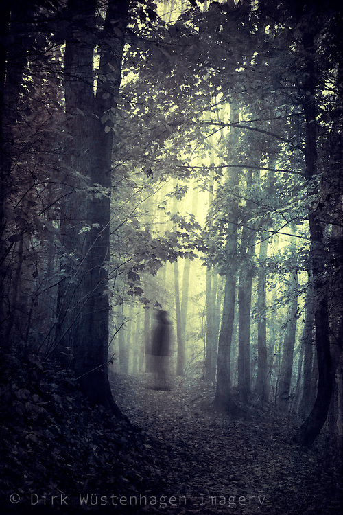 Ghostly figure on a forest path - monochromatic digitally manipulated photograph.