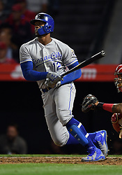 June 6, 2018 - Anaheim, CA, U.S. - ANAHEIM, CA - JUNE 06: Kansas City Royals right fielder Jorge Soler (12) hits a single in the sixth inning of a game against the Los Angeles Angels of Anaheim played on June 6, 2018 at Angel Stadium of Anaheim in Anaheim, CA. (Photo by John Cordes/Icon Sportswire) (Credit Image: © John Cordes/Icon SMI via ZUMA Press)