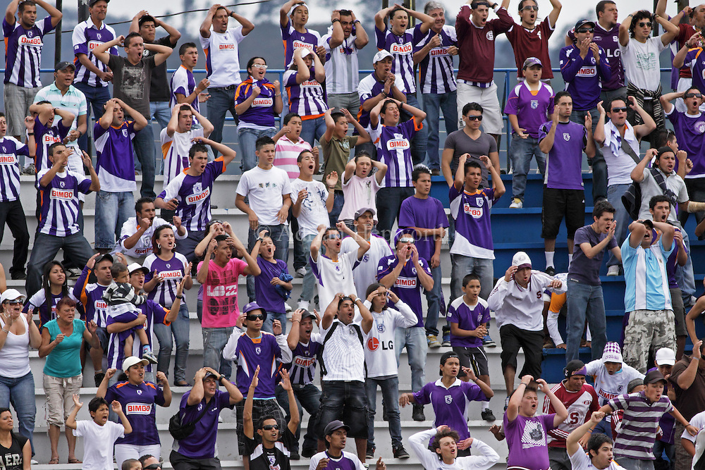 Football / soccer fans of club Saprissa in the stadium of Cartago, Costa Rica.<br /> <br /> For pricing click on ADD TO CART (above). We accept payments via PayPal.