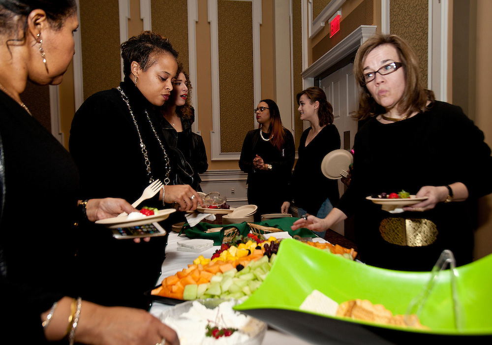 Hors d'oeuvres were enjoyed by all at the All Black Affair at the Baker University Center Ballroom at Ohio University on Friday, January 29, 2016. © Ohio University / Photo by Sonja Y. Foster