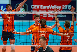 12-06-2019 NED: Golden League Netherlands - Estonia, Hoogeveen<br /> Fifth match poule B - The Netherlands win 3-0 from Estonia in the series of the group stage in the Golden European League / Gijs van Solkema #15 of Netherlands, Michael Parkinson #17 of Netherlands, Gijs Jorna #7 of Netherlands
