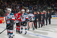 KELOWNA, CANADA - APRIL 14: The Kelowna Rockets shake hands with the Portland Winterhawks after winning game 5 of round two of playoffs on April 14, 2017 at Prospera Place in Kelowna, British Columbia, Canada.  (Photo by Marissa Baecker/Shoot the Breeze)  *** Local Caption ***